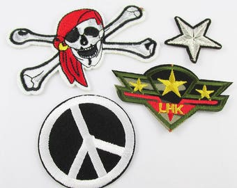 4pce Set Iron on / Sew On Embroidery Cloth Peace Star Skull & Crossbones Patches