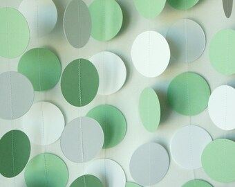 GREEN and WHITE Circle Garland, Baby Shower, Baby's First Birthday, Pastel Green Paper Garland, 10 ft. long