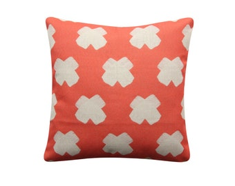 "Cross Pillow Cover, 18""x 18"" Decorative Pillow, Scandinavian Cushion, Geometric Cushion, Cross Cushion, Swiss Cross Pillow 355"