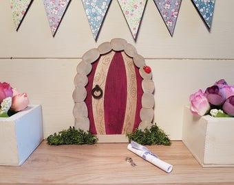 Stone Effect Cave/Hobbit Door Fairy Door Elf Door Gold and Red