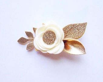 Ivory with Gold and Gold Glitter Felt Flower Headband or Hair Clip