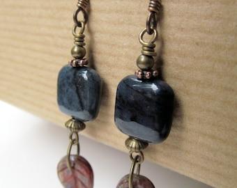 Blue Jasper and Leaves Beaded Niobium Earrings