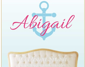 Girls's Name with Anchor Vinyl Wall Decal Set, Nautical Baby Nursery, Girl's Room, Teens Tweens NM-117