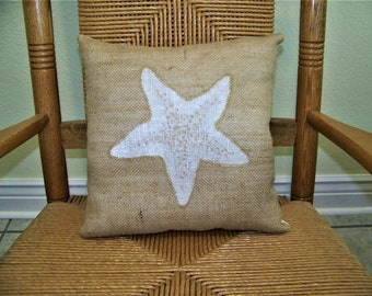 Starfish pillow, Shell pillow, Beach pillow, Burlap pillow, Beach decor, stenciled pillow, Nautical pillow, FREE SHIPPING!