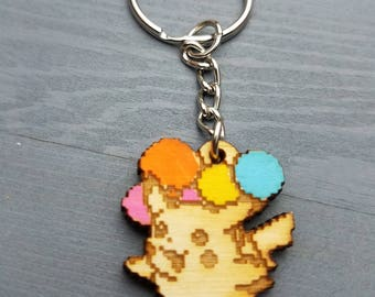 Flying Pikachu Pokemon Keychain | Laser Cut Jewelry | Wood Accessories | Pokemon Keychain