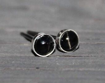 Black Star Diopside Gemstone 4mm Bezel Set on Niobium or Titanium Posts (Nickel Free & Hypoallergenic Stud Earrings for Sensitive Ears)