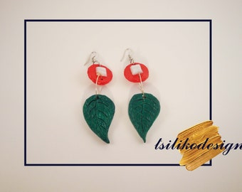 Green-red leaf handmade earrings