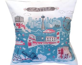 Seattle Pillow Cover-Home Decor-Dorm Room Decor-Blue Grey-Red-Dark Grey-16 x 16