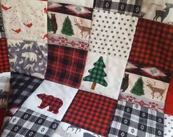 Red and Black Buffalo Plaid Woodland Nursery Bedding, Lumberjack Baby Quilt, Modern Boys Nursery Quilt, Woodland Baby Quilt