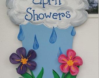 April Showers Bring May Flowers 3D door hang