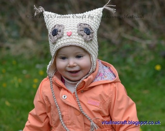 Knitting Pattern - Hooty Owl Earflap Hat (All sizes)