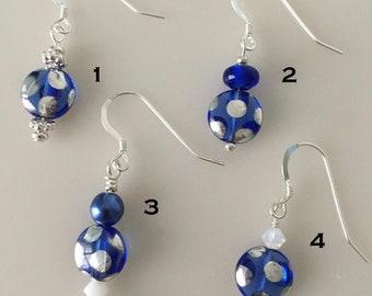 Polka Dot Blue and Silver Czech Glass Lentil