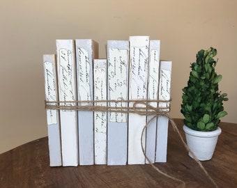 Gray white books, Mothers Day Gift, Gray Farmhouse Decor, Modern Farmhouse, Beige Neutral Books, Decorative Book Stack,  French Script