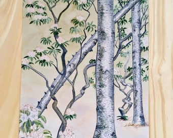 Laurel and Birch Painting