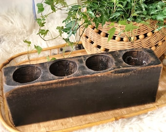 Painted Black Wooden Sugar Mold Candleholder