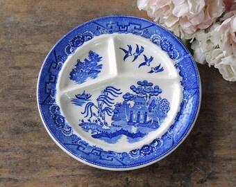 Vintage Blue Willow divisé Grill plaque Made in Japan pour la Straus Co. Inc. Richmond, VA