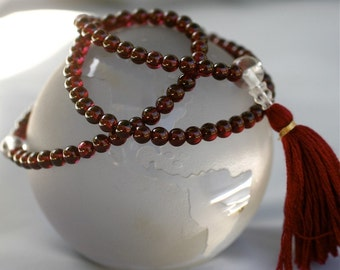 Garnet 108 Bead Mala Prayer Beads Small Pocket Mala with Quartz and Silk Prosperity Buddhist Mala - 5mm Bead Mala