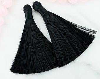 black tassels, long tassels, boho tassels, 3.5 inches,