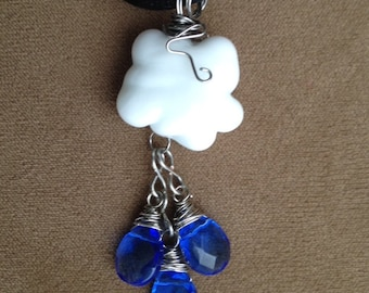 April showers lampwork bead pendant jewelry wire wrapped
