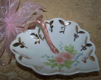 Leaf Trinket Dish Candy Dish Handpainted