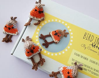 DIY Crochet Kit - Eugene the Robin (EN/NL) - makes 3 amigurumi birds!
