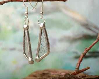 clear glass dangle earrings, bohemian jewelry, modern minimal earrings, stained glass suncatcher jewelry, summer earrings