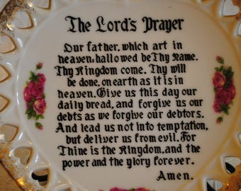 Vintage The Lord's Prayer collectors plate 7 inches