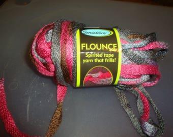 Flounce Yarn/ Pink Blend/ Stash Busting / Grey Rose Flounce