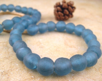 Blue Recycled Glass Beads: World's Most Eco-Friendly Beads! Ghana Beads - African Beads - Wholesale Glass Beads - Made of Bottles 565