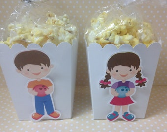 Bowling Party Popcorn or Favor Boxes - Set of 10