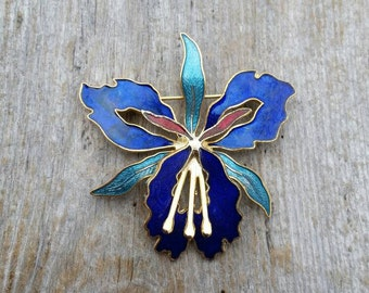 Blue, Teal, and Red Cloisonne Orchid Brooch