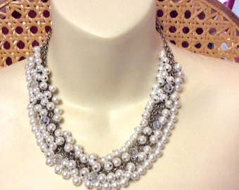 Vintage 1940's pearl beaded cluster on chains collar necklace