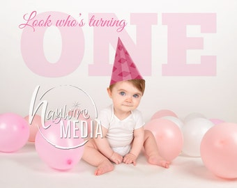 Baby, Toddler, Child, First Birthday Photography Digital Backdrop Background Prop with Pink Party Balloons for Photographers - In 2 Sizes