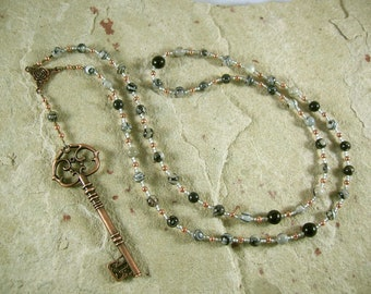Hekate (Hecate) Prayer Bead Necklace in Spiderweb Jasper: Greek Goddess of Magic, Witchcraft, Night, Darkness,