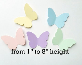 "Paper butterfly die cuts /pastel colors/ 50pc/ size from  1"" to 8""/ spring butterflies"