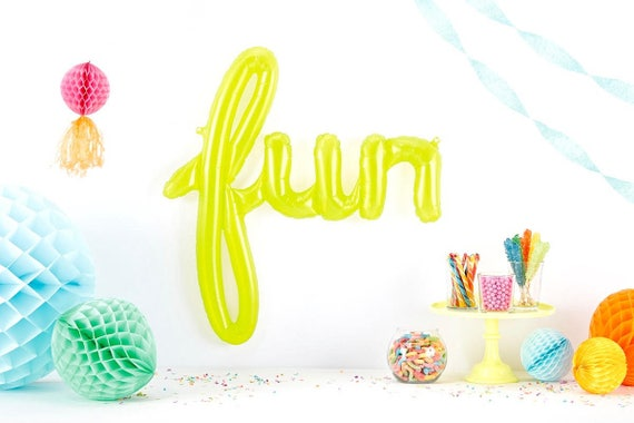 Giant FUN Script Balloon, Lime Green Fun Balloon, Fun Party Balloon, Neon Script Balloon Prop, Yellow Balloon, Lime Green Balloon Word
