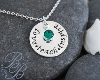 Personalized Jewelry - Teacher's Necklace - Teacher's Jewelry - Hand Stamped Jewelry - Teacher's Gift
