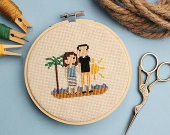 Beach Themed Custom Stitch | Vacation | Anniversary | Beach