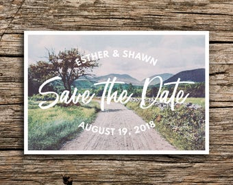 Rustic Road Postcard Save the Date // Organic Wedding Save the Dates Vintage Postcard New Hampshire Vermont Midwest Farm Barn Outdoorsy
