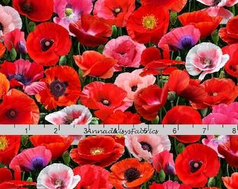 Pink & Red Poppy Fabric, Elizabeths Studio ELS 548, Packed Poppies Quilt Fabric, Red Floral Quilt Fabric, Red Flower Fabric, Cotton