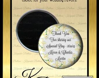 "Wedding Favors, 2.25"" Custom Wedding Magnet Favors, Flower Wedding Magnet Souvenir, Wedding Keepsakes, Refrigerator Magnet"