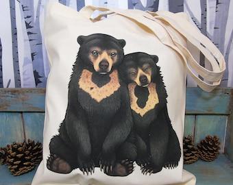 Sun Bears Illustration Eco Tote Bag ~ 100% Cotton Long Handles