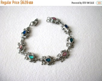 ON SALE Vintage Silver Tone Frogs Paua Abalone Belly Inlays 7 1/4 Inch Bracelet 8516