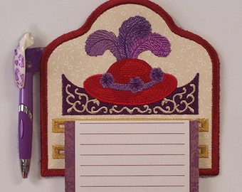 Fun Fancy Red Hat Society Embroidered Notepad Holder