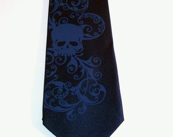 RokGear Skull print Mens necktie - Custom colors original design by RokGear