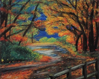 Fall In The Park - Pastel Landscape Print