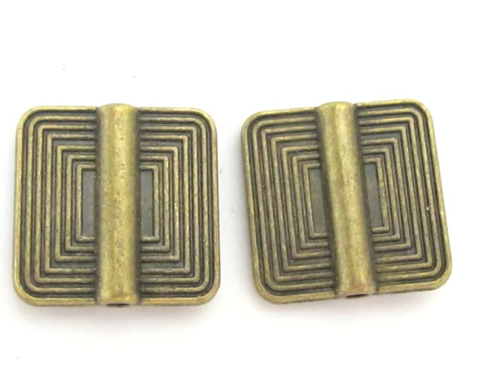 2 beads - Reversible Brass finish metal beads with concentric squares design - BD190A
