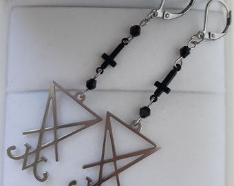 Satan Lucifer sigil earrings piercing inverted cross demon satanic occult wicca pagan jewelry stainless steel