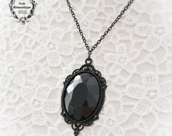 Black victorian gothic necklace-Gothic jewelry-Came0 necklace-gothic pendant-30x40mm-necklace