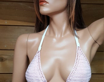 Blush Pink Crochet bikini top, women's swimsuit top